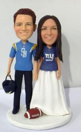 Custom cake topper Rugby San Diego Chargers & New York Giants