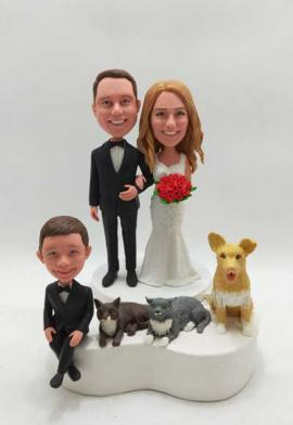 Custom wedding cake topper with kid and pets