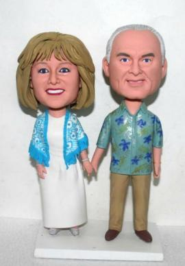 Hawaii theme 50th anniversary cake toppers