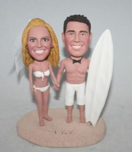 Surfing custom wedding cake toppers