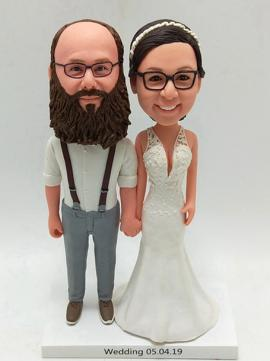 Custom wedding cake topper with big beard