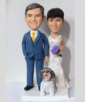Custom couple wedding cake topper with dog