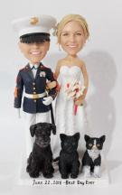 Custom Custom lesbian cake topper in USMC uniform with cats