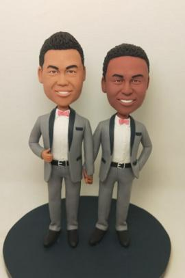 Same sex gay wedding cake topper look like you