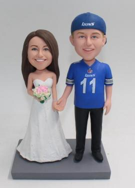 Custom wedding cake topper Lions jersey