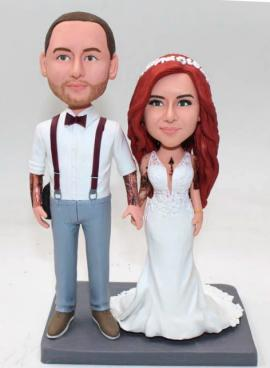 Custom wedding cake topper with tattoos