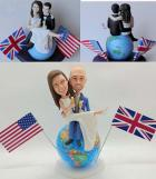 Custom Custom Cake Toppers England Groom and US Bride