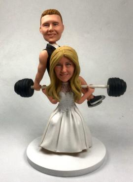 Custom cake topper bride weightlift groom