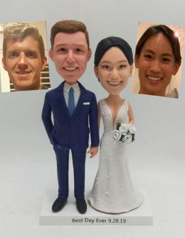 Custom wedding cake topper made from photos