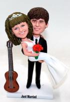 Custom Classical wedding cake topper with guitar