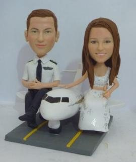 Airplane pilot custom wedding cake toppers