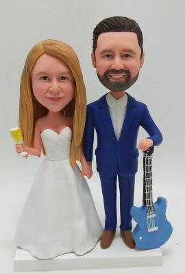 Custom cake topper wedding with guitar