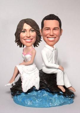 Rock and sea wedding Cake Toppers BW22