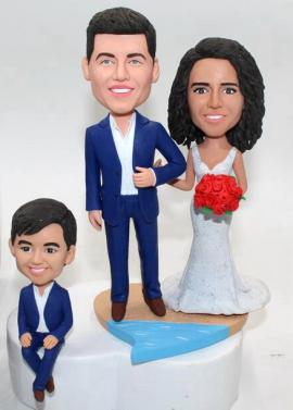 Custom wedding cake topper with kid