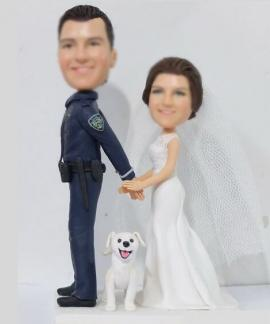 Custom cake topper policeman Bride arresting the groom