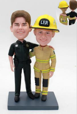 Wedding cake topper policeman and fireman