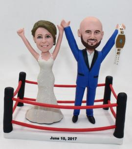 Wrestling wedding cake topper with championship belt
