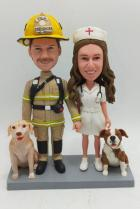 Custom Custom Wedding Cake Topper Firefighter and Nurse