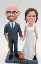 Custom Custom wedding cake topper Broomball theme