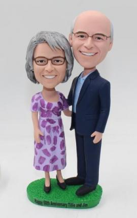 50th anniversary wedding cake topper made from photos