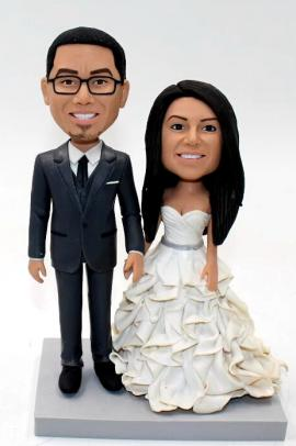 Tall groom custom wedding cake topper