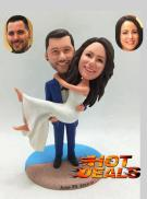 Custom Personalized wedding cake topper groom holding bride on beach