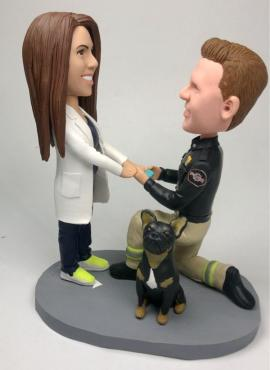 Custom cake topper fireman proposed to doctor