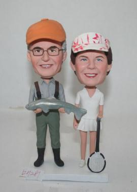 Fisherman and tennis player cake topper