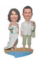 Custom Beach Wedding Couple Cake Toppers