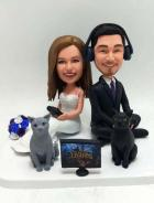 Custom Custom Wedding Cake Topper Sitting and Playing Games