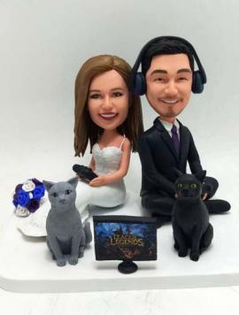 Custom Wedding Cake Topper Sitting and Playing Games