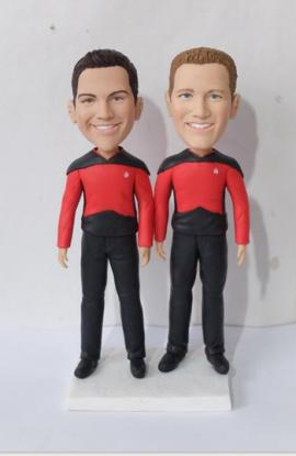 Same sex wedding topper in Star Trek uniforms