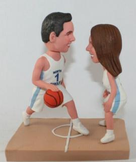 Playing basketball themed wedding cake topper