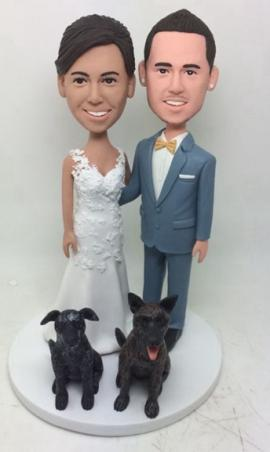 Custom wedding cake topper with studs earrings