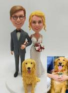 Custom Custom Bride and Groom Cake Toppers with Dog