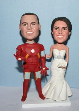Iron Man groom & birde custom wedding cake toppers