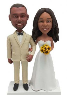 Personalized Cake Topper Bride holding Sun Flowers