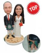 Custom Custom cake topper with groom in Scottish kilt
