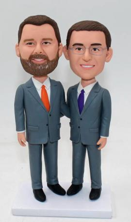 Custom gay wedding cake topper in suits