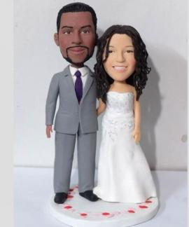 Custom interracial marriange wedding topper