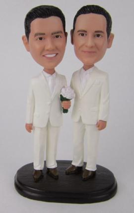 Same sex gay wedding cake topper make from photo
