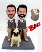 Custom Custom gay wedding cake topper with dog