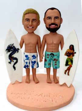 Custom gay cake topper with surfboard beach