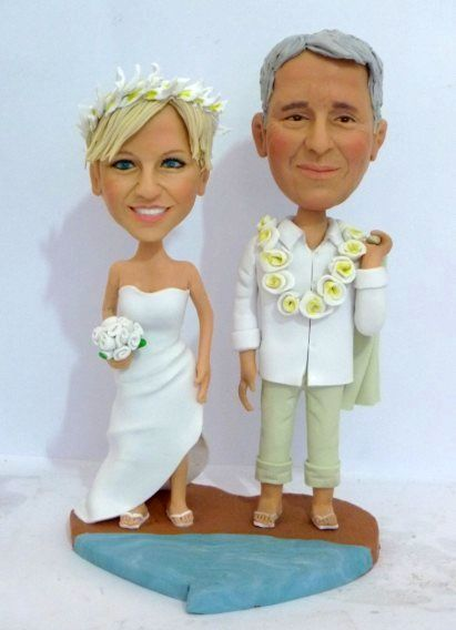 Beach theme wedding cake toppers