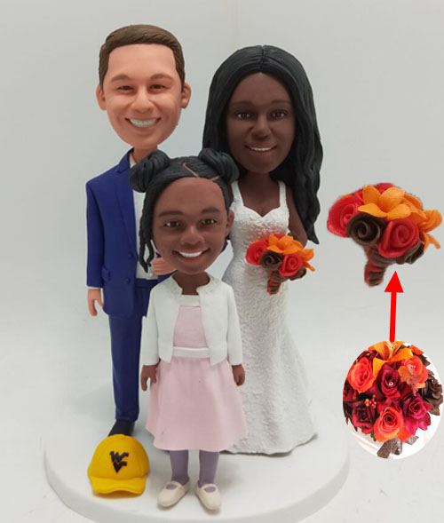 Custom Custom Wedding Cake Topper Family with Bouquet