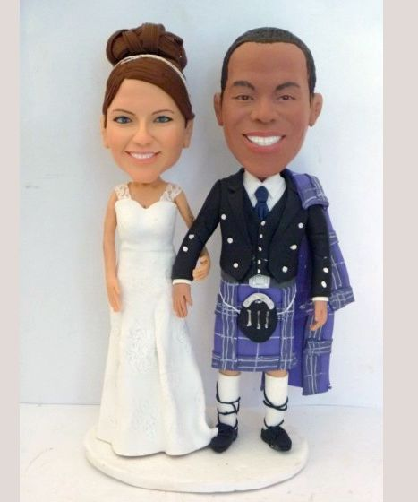 Custom Custom groom in kilt wedding cake toppers