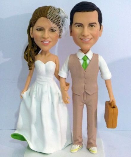 Custom Travel theme wedding cake topper with suitcase
