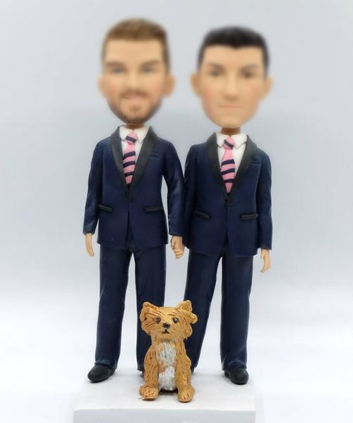 Custom Custom gay wedding topper with dog