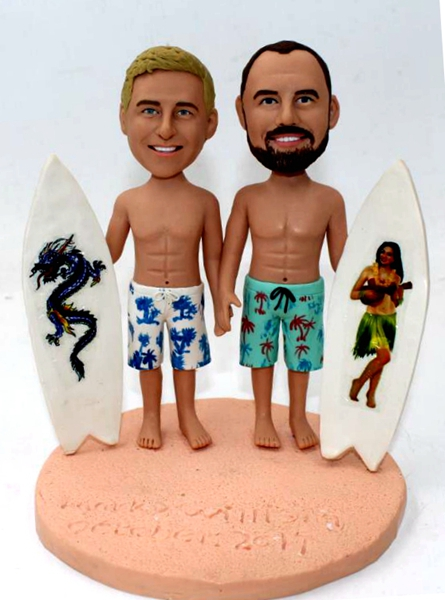 Custom Custom gay cake topper with surfboard beach