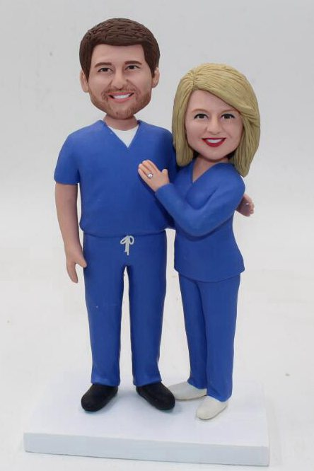Custom Doctor and nurse couple wedding cake toppers